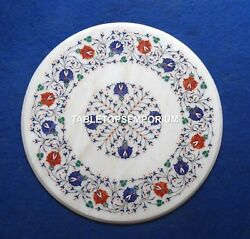 36 Marble Dining Center Table Top Mosaic Multi Lapis Carnelian Inlay Gift H4507