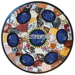 42 Black Marble Table Top Multi Mosaic Lapis Inlay Dining Room Home Decor Gifts