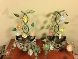 Pair 2 Light 19th Century French Tole Ware Floral Bouquet Wall Sconces/baskets