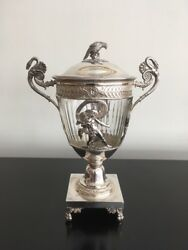 Exquisite French Circa 1820 Sterling Silver And Glass Covered Urn Or Ciborium