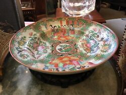 9.75 Diameter Mid 1800s Qing Chinese Rose Medallion Tiered Bowl Asian Antique