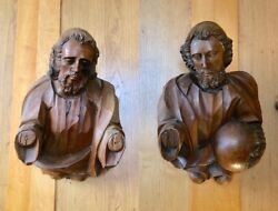 Pair Of 17th Century Baroque Carved Wood Apostle Busts Linden Wood South German