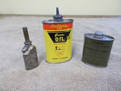 Vintage Lot-3 Gun Oiler Oil Cans Outersmilitary Lead Top Tiny Oiler Advertizing