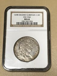 1698 Great Britain 🇬🇧 England Decimo 1/2 C Crown Silver Coin Ngc Ms 62 Rare