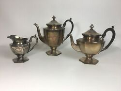Antique Silver-plate 2 Teapots And Creamer Silver City Plate Co. Meridian Ct 068