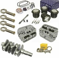 1776cc Air-cooled Vw Engine Rebuild Kit, 69mm Crank Gtv-2 Heads And Pistons