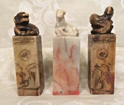 3 Chops Stone Wax Seals Vintage Asian Pieces Horse Dog And Snake Figures On Top