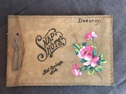 Vtg Snapshots Photo Album Hot Springs Ark Personalized Leather Picture Book