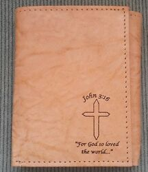 Men's Christian JOHN 3:16 Cross Tan Brown REAL LEATHER Tri-fold Wallet IMPERFECT $10.99