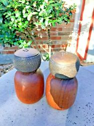 Denby Pottery Stone 1970'svintage Wood And Stone Salt And Pepper Shakers