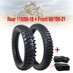 Rear 110/90-18 Front 80/100-21 Knobby Tyres Tubes For Crf50 Crf70 Dirt Pit Bike