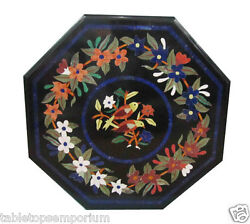 2'x2' Black Marble Coffee Table Top Inlay Mosaic Floral Furniture Hallway Décor