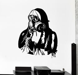 Vinyl Wall Decal Respirator Gas Mask Military Art Soldier Prays Stickers G2263
