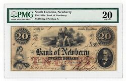 1853 Bank Of Newberry Sc - 20 Note No.12 Sh293 Pmg 20 Very Rare Note 05357
