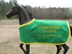LONESOME GLORY embroidered blanket Breyer thoroughbred steeplechase race horse