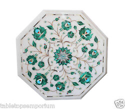 1and039x1and039 Marble Center Table Top Malachite Marquetry Inlay New Year Hallway Dandeacutecor