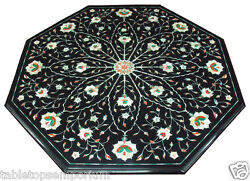 2and039x2and039 Black Marble Top Side Table Gems Inlay Marqyetry Hallway Home Garden Decor