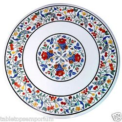 2'x2' White Marble Coffee Table Top Mosaic Peacock Inlay Pietra Dure Home Decor
