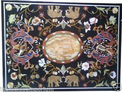 3and039x3and039 Marble Dining Center Table Top Marquetry Micro Mosaic Inlay Hallway Decor