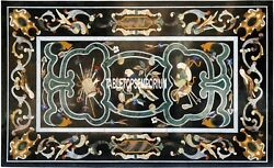 5and039x3and039 Black Marble Side Dining Table Top Pietra Dura Gems Inlay Home Decor Gifts