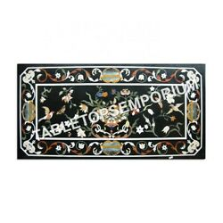 5and039x3and039 Black Marble Dining Table Top Marquetry Floral Inlay New Year Decor E974a