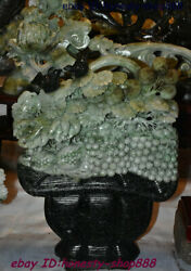 Collect Rare China 100 Dushan Xiuyu Jade Stone Hand Carving Flower Grape Statue