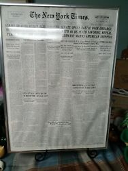 The New York Times Front Page The Late Edition Tuesday October 3 1939 Framed