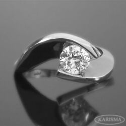 Diamond Twisted Ring Round Shape 14 Karat White Gold Solitaire 0.7 Carat Real