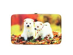 PHOTO PRINT & RHINESTONES DESIGNS FLAT FRAME WALLET WITH CARD SLOTS PUPPY LOVERS