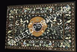 4and039x2and039 Black Marble Breakfast Dining Room Table Top Marquetry Inlaid Dandeacutecor E940