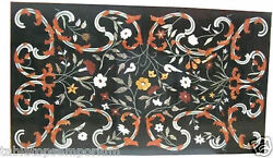 2and039x3and039 Black Marble Side Coffee Table Top Multi Floral Marquetry Inlay Decor Gift
