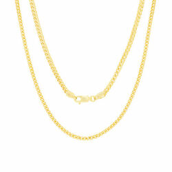 14k Yellow Gold Solid 2.7mm Rounded Franco Wheat Chain Pendant Necklace 16- 30