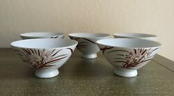 Vintage Japanese Hand Painted Footed Rice Bowls Set Of 5