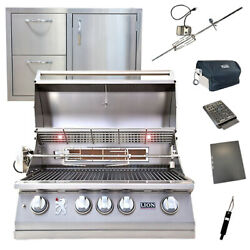 Lion 32-inch 4-burner Grill L75000 W/ Made In Usa 32-inch Door/drawer Combo