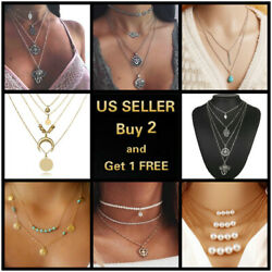 Boho Women Multi layer Gold Silver Chain Pendant Crystal Choker Necklace Jewelry