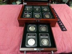 1971-1976 Eisenhower Ike Dollar- 10 Coin Set -plus Wooden Box--proof And Unc