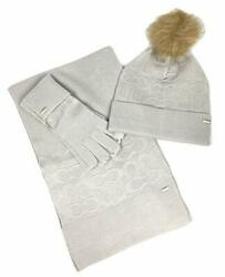 Coach Women's Soft Embossed Signature Knit Scarf Hat and Gloves Set (Gray)