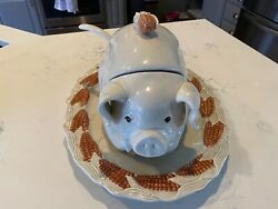 Fitz And Floyd Pig Soup Tureen W/ Ladel And Underplate / Platter Rare Corn Fall