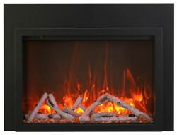 Amantii 38 Electric Fireplace Insert With 4 Side Trim Kit And Canopy Lighting
