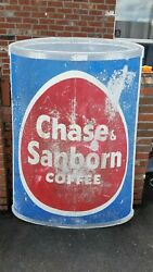 Vintage 60x40 Factory Chase And Sanborn Coffee Can Metal Sign And