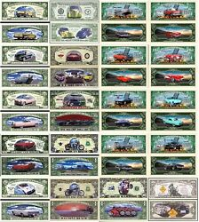 Cars And Bikes Set Of 20 Dollar Bill Funny Money Novelty Notes With Free Sleeves