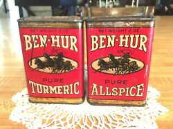 Two, Vintage 1930's And 1940's, Ben-hur Spice Tins, Allspice And Turmeric