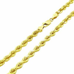 Solid 10k Yellow Gold 5mm Diamond Cut Rope Chain Necklace Lobster Clasp Men- 26