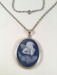 Vintage Jewellery Sterling Silver Cameo Pendant Chain Necklace Antique Jewelry
