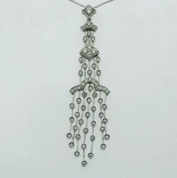 18ct White Gold And Diamond 1 Carat Approx Tassel Pendant Necklace 2017 65.2mm