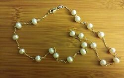 10k Yellow Gold Button Pearl Beaded Link Chain Necklace 16 5.2gr