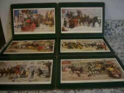 Pimpernel Cork Backed Placemats Dickensian Scenes, Set Of 6 Size 9 X 12