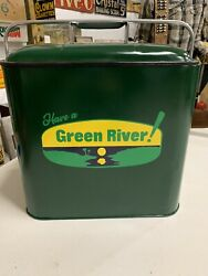 Vintage Rare Green River Soda Cola Metal Cooler Gas Oil Drink With Tray No Rust