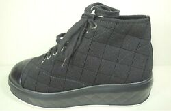 35 Black Quilted Cc Sold Out Lace Up Weekend Sneakers Shoes Trainers New