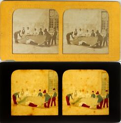 France Les Firefighters Humorous Photo Stereo Diorama Albumin Ca 1865